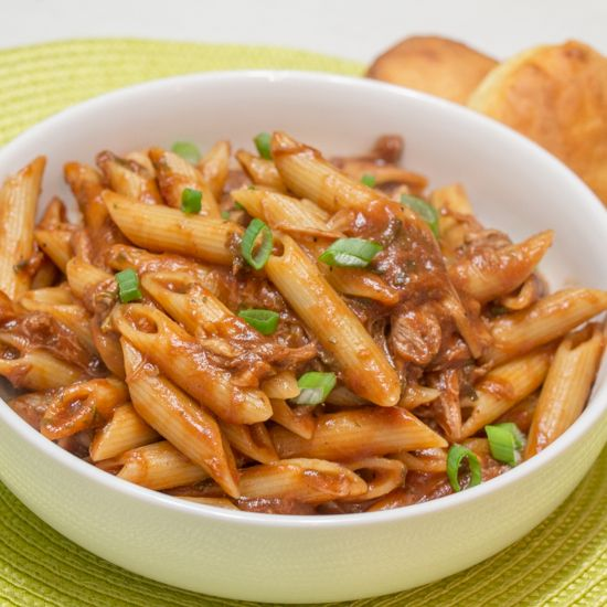 BBQ Pulled Pork Pasta is a fantastic way to use up leftover pulled pork! From Sew You Think You Can Cook