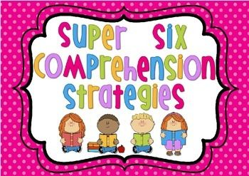 $ - A set of 6 posters explaining the Super Six Comprehension Strategies  1. Visualising 2. Making Connections 3. Questioning 4. Predicting 5. Summarising 6. Monitoring  These posters can be used to introduce each strategy and then used as part of a Wall That Teaches by hanging student work samples underneath each poster.