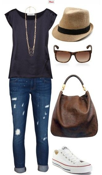 The Casual Outfit Look, Grey Top, Jeans and Sneakers, but without the fedora and glasses