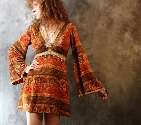 RESERVED FOR BROOKE Please do not purchase thank you Vintage 1960s Mod Psychedelic Gypsy Hippie Dress Beaded Trim Bell Sleeves. $85.00, via Etsy.