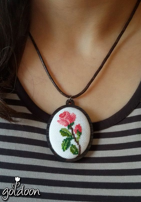 cross stitch jewelry - cross stitch necklace-- wooden jewelry-- cross stitch rose-- hand stitch-- handicraft:
