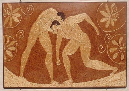 Vaso antico con lottatori