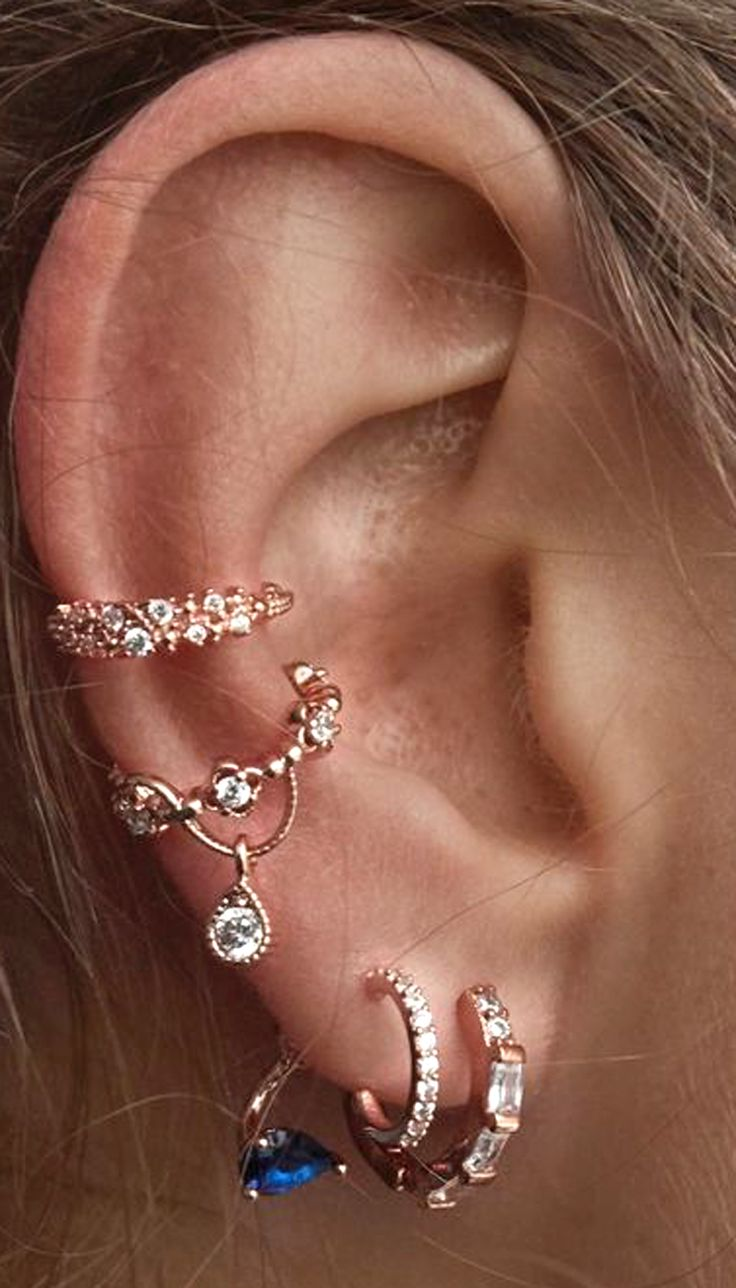 cute ear piercing ideas for women rose gold ear cuff earrings ring hoop