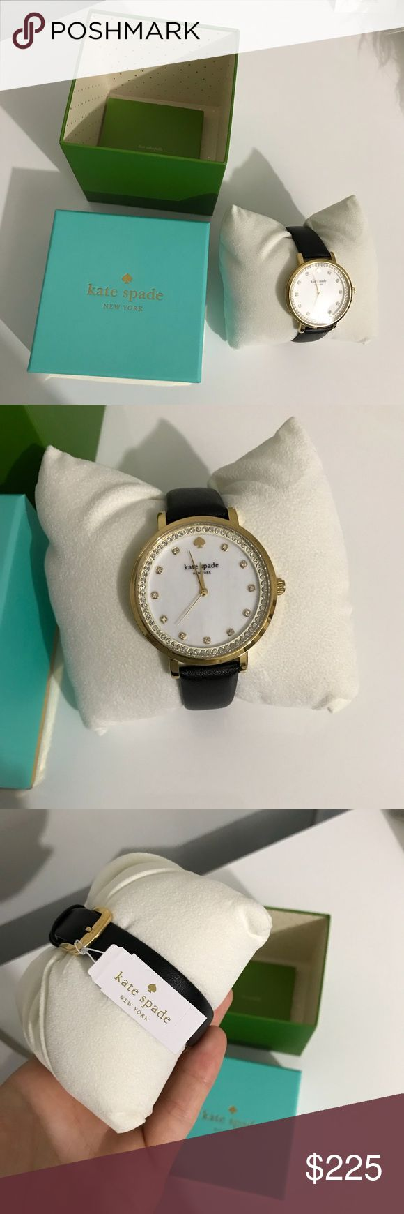 Kate Spade ♠️ black leather and gold watch New in box with tag , pillow pouf, booklet and watch box Black leather wrist watch gold detailing Pet free smoke free home ships ASAP kate spade Accessories Watches