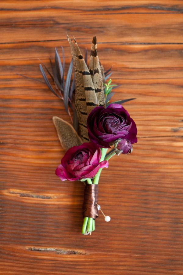 Feather Buttonhole Rustic English Hunting Wedding Ideas http://www.kristinalynnphoto.com/