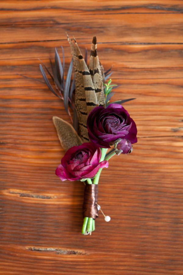 Feather Buttonhole Rustic English Hunting Wedding Ideas http://www.kristinalynnphoto.com/ #colorado #weddings