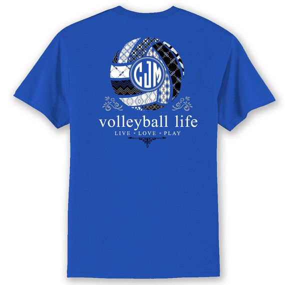 Attractive OFFICIAL TM Volleyball TEAM Colors Life Custom Monogram T Shirt Volleyball  Shirt
