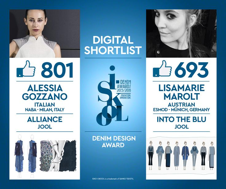 A huge thumbs-up for our two new ISKO I-SKOOL™ finalists! Thanks everyone for voting! #iskool #iskooldenim #fashion #design #denim