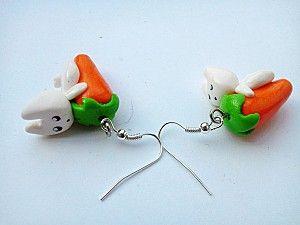 Boucle d'oreilles lapins & carottes
