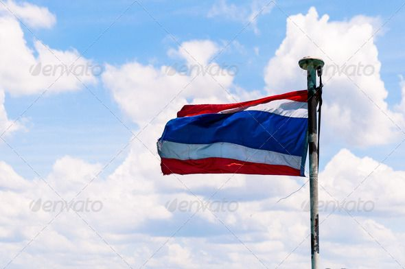 Thailand National flag ...  asia, asian, banner, blue, clouds, country, democracy, emblem, fabric, flag, flagpole, flutter, fly, freedom, glory, independence, indochina, international, king, kingdom, liberty, nation, national, nationalism, nationalist, nationality, patriotic, patriotism, pride, proud, red, ripple, siam, sky, state, stripe, symbol, symbolic, thai, thailand, wave, white, wind