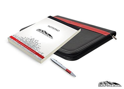 Luxury New Black & Red Leather Portfolio Binder Complete Bundle From BARKOD3, Experience The Business Feel With Style & Comfort Now!