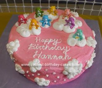 Homemade Care Bear Cloud Cake: I got this idea for a Care Bear Cloud Cake from a picture I found when searching for Care Bear cakes.  It looked really easy and as it turned out was really