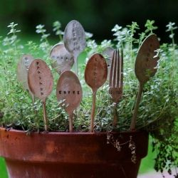 Use old metal or wooden spoons at plant markers