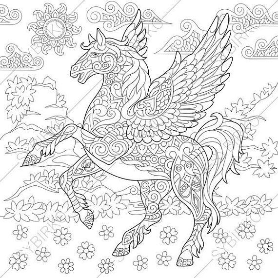 Coloring Pages For Adults Pegasus Fairytale Flying Horse Etsy Horse Coloring Pages Unicorn Coloring Pages Horse Coloring Books