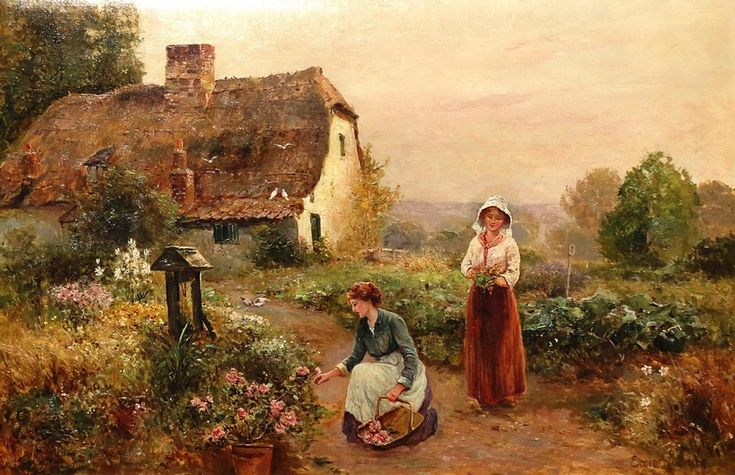 Ernest Walbourn (English, 1872-1927)  ~ The Flower Pickers