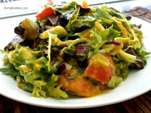 Avocado Peach Salad ~ low in fat and so refreshing!