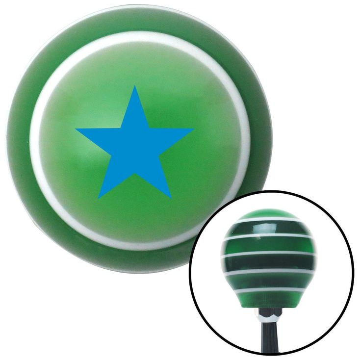 Blue Rear Admiral Lower Half Green Stripe Shift Knob with M16 x 15 Insert