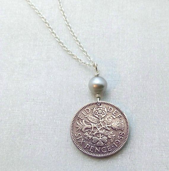 English Scottish Irish Welsh COIN NECKLACE - lucky wedding six pence - Tudor Rose - Irish Shamrock - Scottish thistle - Welsh leek - pearl by FindsAndFarthings on Etsy