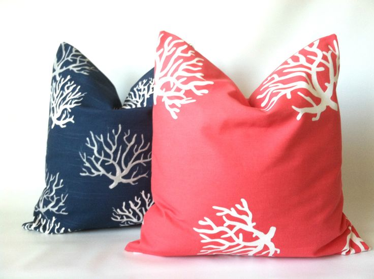 Coral Navy Beach Pillow Cover Set -  18 x 18, Two, Beach Pillows, Ocean Decor, Sea Coral Pillow, Beach Decor, Coral Navy Cushions by PillowStyles on Etsy https://www.etsy.com/listing/192960890/coral-navy-beach-pillow-cover-set-18-x