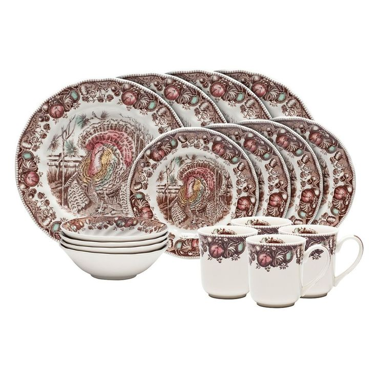 Thanksgiving Dinnerware Set 16 Piece Stoneware 4 Place Settings Holiday Family #Unbranded