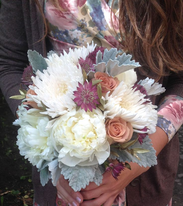 bouquet with peony and chrysanthemum