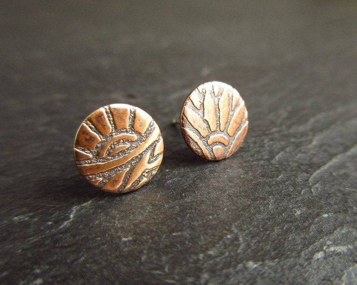 Etched bronze stud earrings, bronze studs, flower pattern studs, oxidized bronze earrings, 8th wedding anniversary, bronze anniversary gift by CinnamonJewellery on Etsy