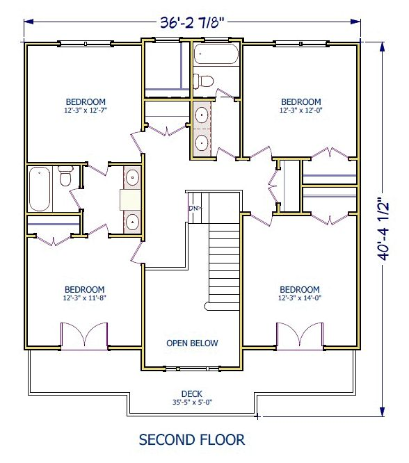 Colonial Country Southern Traditional House Plan 40503 Level Two