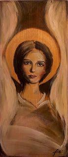 Ikona  angel acrylic painting on wood