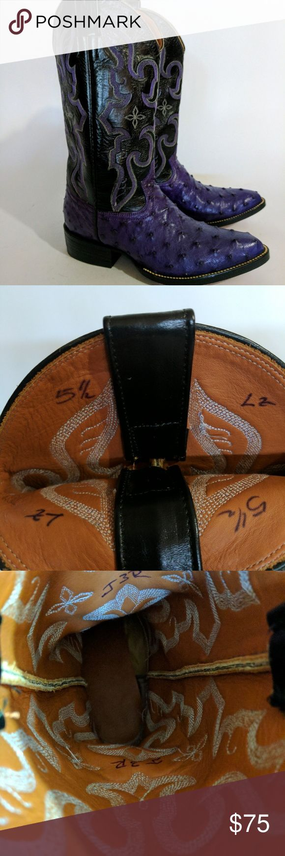 """Purple Ostrich Cowboy Boots sz 5.5 Black Purple Ostrich Cowgirl Boots Pointy toe size 5.5 Western Cowboy  These are sz 5.5  They do not have any markings on the inside except LZ 5 1/3 and J3R.  They have been professionally resoled and not worn after that.  They are real leather and are very heavy. The stitching on style are very similar to Tony Lama with no indication they are.  Width: (outer sole) 4"""" Heel to Shaft top: 13"""" Shaft: 13"""" Mid toe to heel: 8.25 (this is a general…"""
