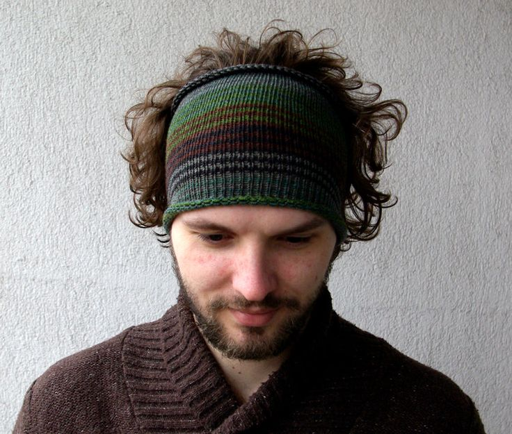Knitted Mens Headband Guys knit hair wrap - green brown Adults Dread band Tub...