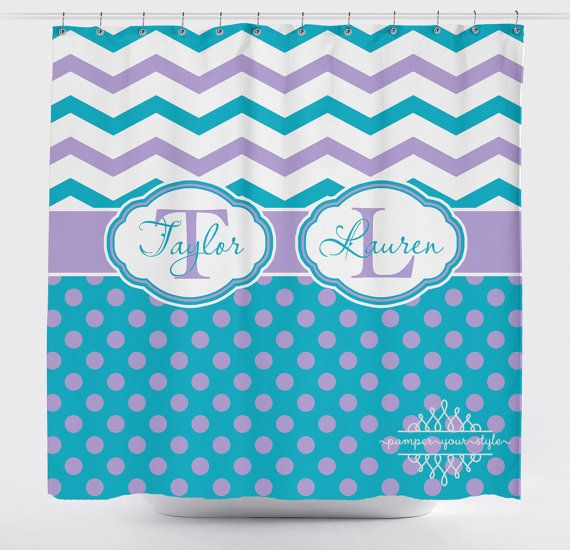 Custom Designed Polka Dot and Chevron-Turquoise and Purple Shower Curtain,  Boys and Girls Bathroom, Personalized, Create and Design Your Own - Best 25+ Purple Shower Curtains Ideas On Pinterest Purple