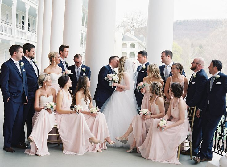 Bedford Springs grotto ceremony spring wedding flowers simple elegant classic pittsburgh florist roses ranunculus dusty miller french tulips cherry branches pink ivory ballroom bride bridesmaids nosegay bridal party bouquet tall arrangement Joey Kennedy Photography