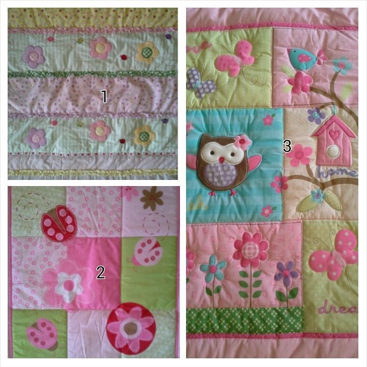 BEAUTIFUL BABY COT QUILT, OWL, FLOWERS, LADYBUG, LADYBEETLE, NEW
