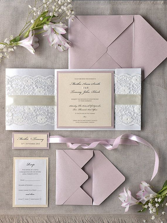 Romantic Wedding Invitation Pink and Lace 100 by forlovepolkadots