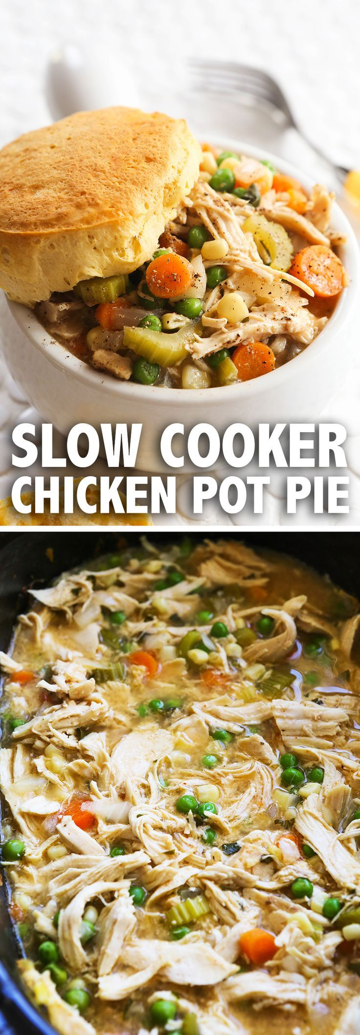 Slow Cooker Chicken Pot Pie | Chicken Pot Pie simplified! I LOVE this version of the good ol' delicious comfort food. Great weeknight dinner option!