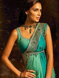 Indian Wedding Dress 1 exquisite teal blue turquoise emerald dress with empire waistline - totally beautiful, & necklace