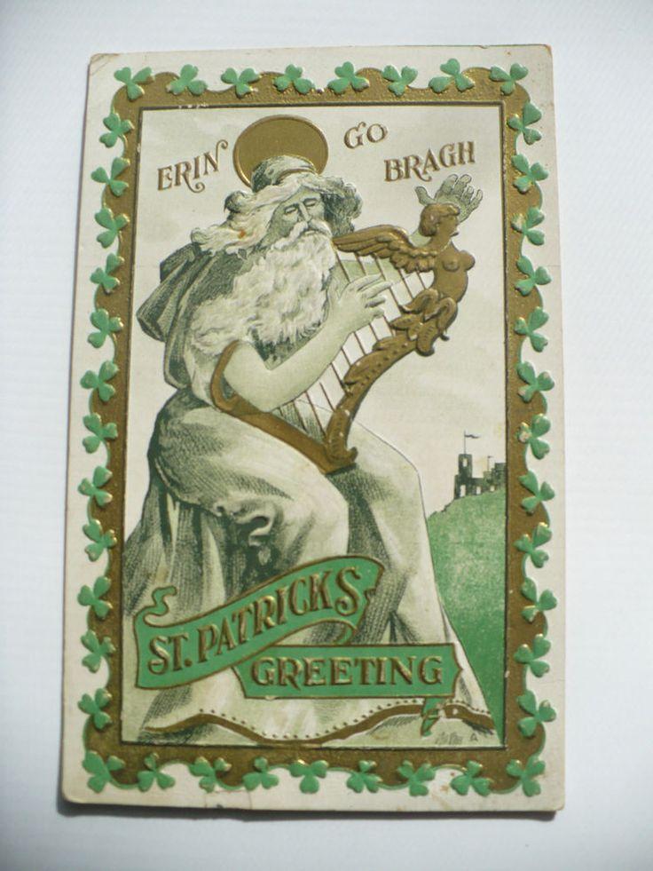 1910 Vintage ST PATRICK POSTCARD bearded male angel harp shamrocks Erin Go Bragh #StPatricksDay