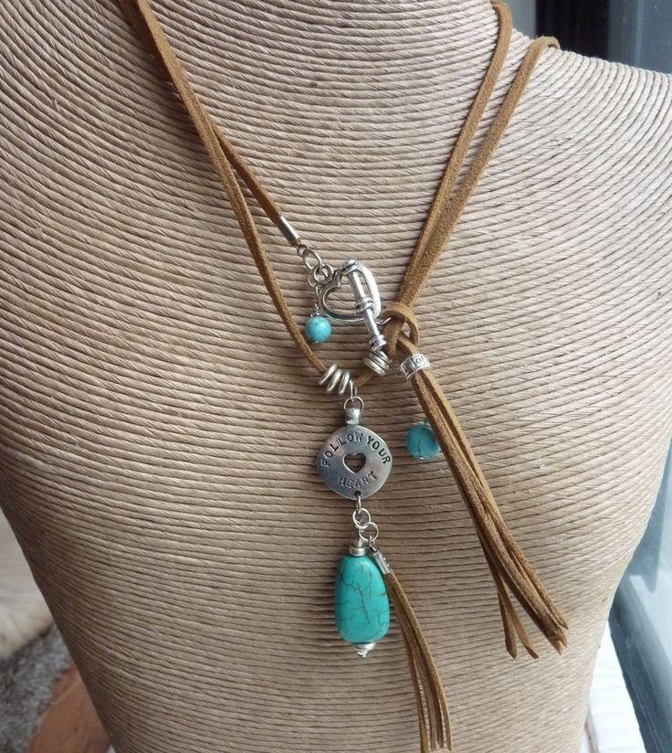 Turquoise Double Suede Pendant - handmade crystal energy gemstone jewellery Earth Jewel Creations Australia