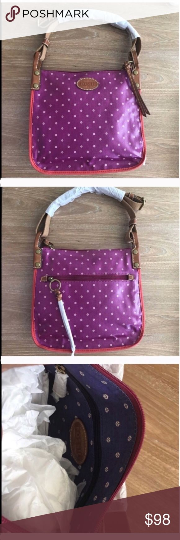 "FOSSIL KEY PER MAGENTA CROSS BODY SHOULDER BAG 💗Condition: NEW WITH OUT TAGS. No flaws, no rips, holes or stains. Measures approx. 11.5"" X 10"" x 2.5"" Strap length 48"", adjustable.. leather straps, nylon and vinyl leather. Shoulder or crossbody.  💗Smoke free home/Pet hair free 💗No trades, No returns. No modeling  💗Shipping next day. Beautiful package! 💗I LOVE OFFERS, offer me! 💗ALL ITEMS ARE OWNED BY ME. NOT FROM THRIFT STORES 💗All transactions video recorded to ensure quality.  💗Ask…"