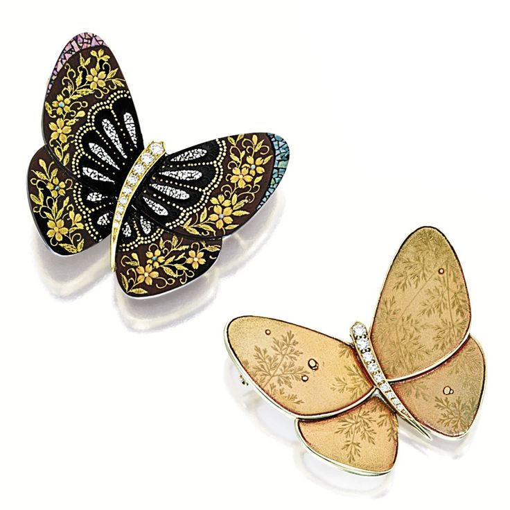 PAIR OF MOTHER-OF-PEARL, LACQUER AND DIAMOND 'BUTTERFLY' BROOCHES, VAN CLEEF & ARPELS