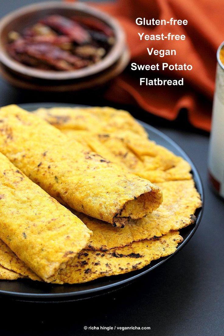 Easy Yeast-free Sweet Potato Vegan Gluten free flatbread. Sweet Potato flatbread with chickpea flour, rice flour and psyllium husk. #Eggless #vegan Oat-free #Recipe | VeganRicha.com