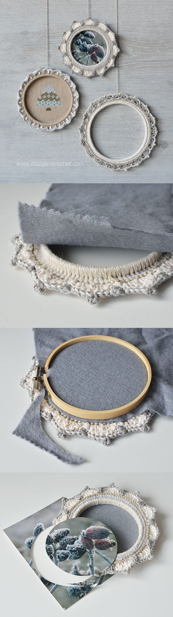 How to very easily turn embroidery hoops with crochet border into frames for pictures (and embroidery). Tutorial by Lilla Bjorn Crochet