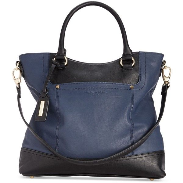 Tignanello Smooth Operator Leather Shopper (775 VEF) ❤ liked on Polyvore featuring bags, handbags, tote bags, purses, leather shopper, tignanello handbags, leather handbags, blue leather handbag and shopping tote bags