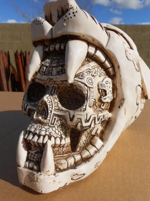 Aztec Mayan Jaguar SKULL Day of the Dead Mexican Folk Art pottery statue figure