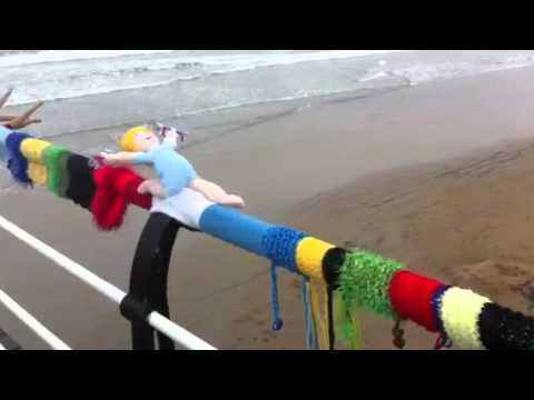 Guerilla knitting Saltburn - what a joyful, creative example of yarn bombing!