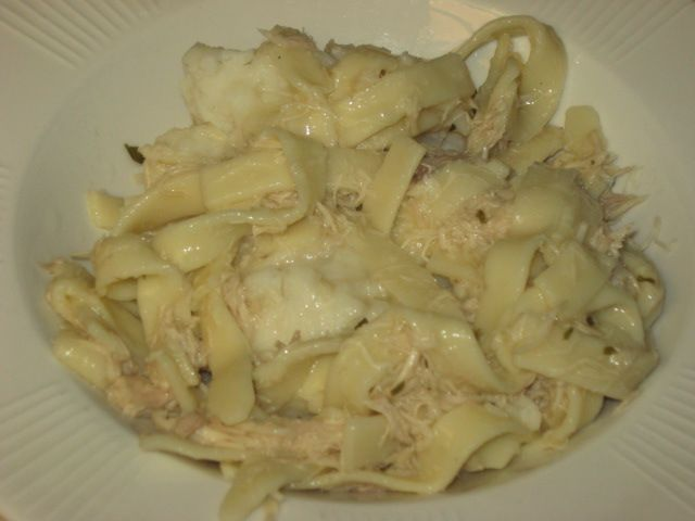 Chicken and Noodles over Mashed Potatoes  Sounds similar to my grandma's recipe, my favorite holiday dish -b