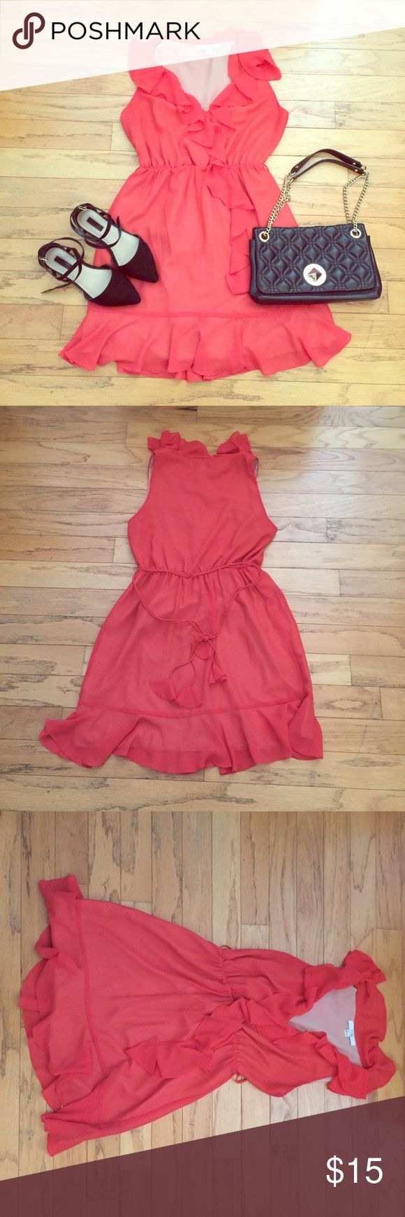 ✨F21 Tangerine Dress✨ 🌼Super fun and gorgeous tangerine dress that can be worn day or night time ! Light weight and has accent ruffles ! 🌼 Forever 21 Dresses