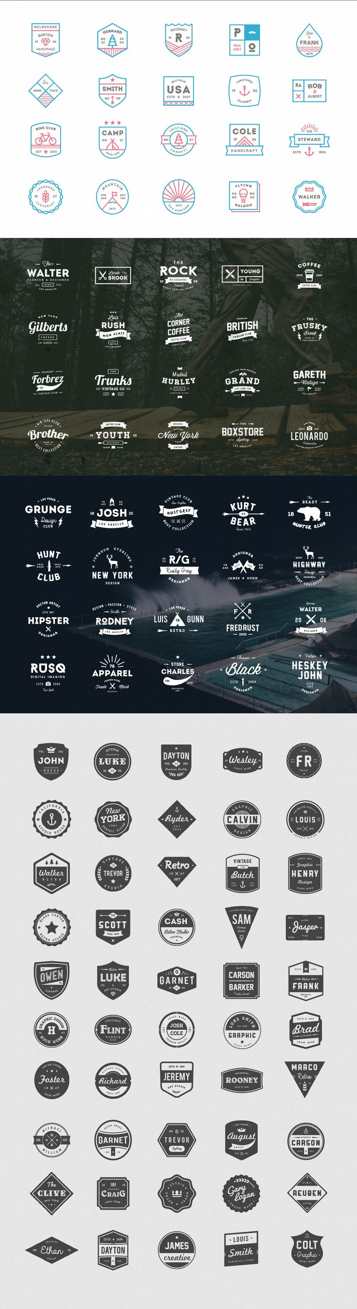 ONLY $14 for 210 VINTAGE LOGOS BUNDLE (very limited time) --- ITEMS YOU GET IN THIS BUNDLE: - 50 Retro Badges (AI, EPS, PSD) - - 20 Ink Logos (AI & EPS) - - 20 Vintage Logos & Badges Vol 01