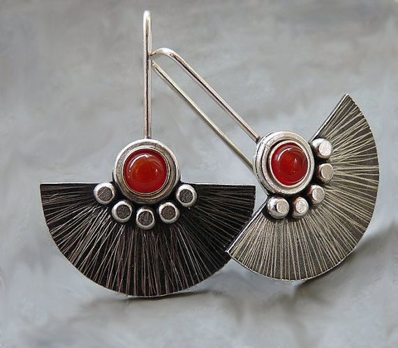 Sterling silver fan earrings with carnelian. Sterling silver drop earrings. Silver jewellery. Gemstone earrings. Handmade. (55.00 GBP) by Kailajewellery