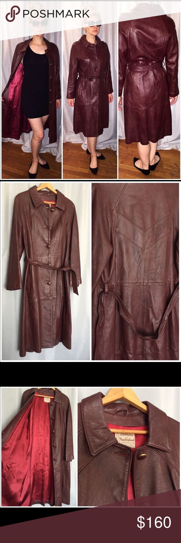 Leather trench coat Leather trench coat size L vintage Jackets & Coats Trench Coats